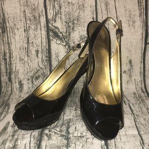 Nine West Able Black Peep Toe Platform Heel